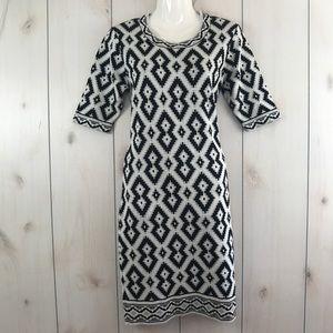 Trulli Black White & Silver Sweater Dress M